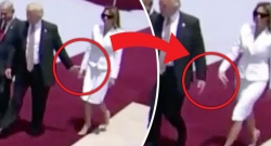 The body language of Mr and Mrs Trump